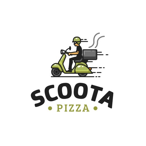 Delivery logo with the title 'Scoota Pizza'