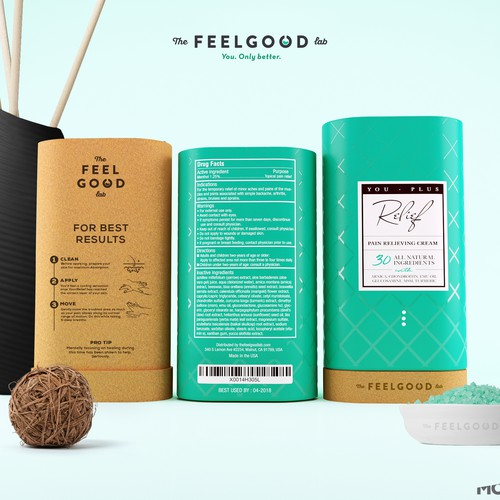 Whey packaging with the title 'The feel good '