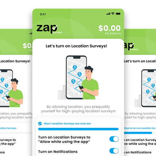 Survey design with the title 'Onboarding Screens - Zap App'