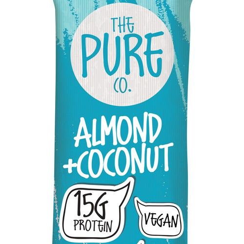 Vegan packaging with the title 'Packaging design for Protein bar'