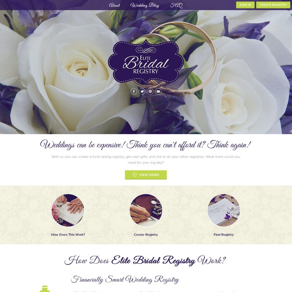 Big image website with the title 'Create a beautiful and elegant site for Elite Bridal Registry'