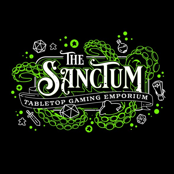 Green design with the title 'Cthulu/RPG Themed Signage Logo Design for a Tabletop Gaming Store.'