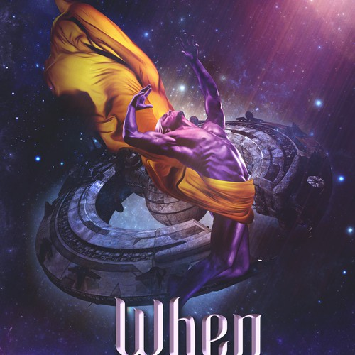 Digital art book cover with the title ''When gods die' book cover'