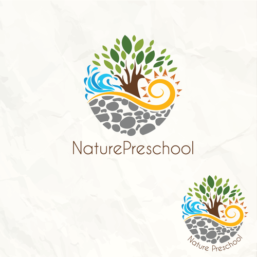 Sun and tree logo with the title '4 elements nature logo for a preschool'