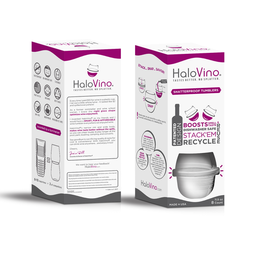 Wine packaging with the title 'HaloVino Retail Box'