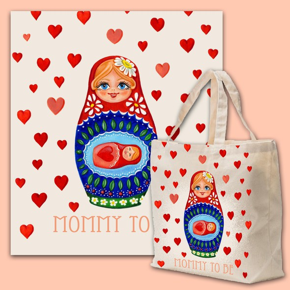 Print artwork with the title 'Cavas Bag design for 'Mommy to Be''