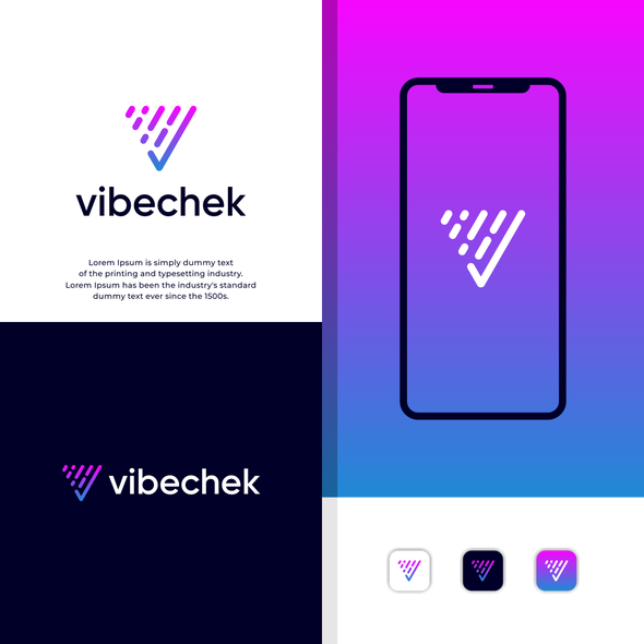 """V logo with the title 'A website and app that shows what music is playing in bars and venues in real-time so they can """"check the vibe"""" before heading out.'"""