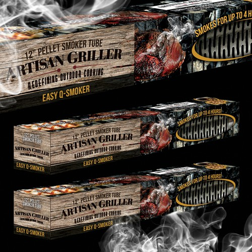 Smoke packaging with the title 'Packaging Design for a bbq smoker '