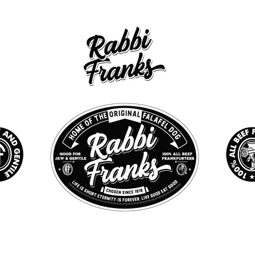 Brown and pink logo with the title 'Rabbi Franks'