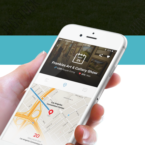 Map design with the title 'iOS App design for HowItGo'