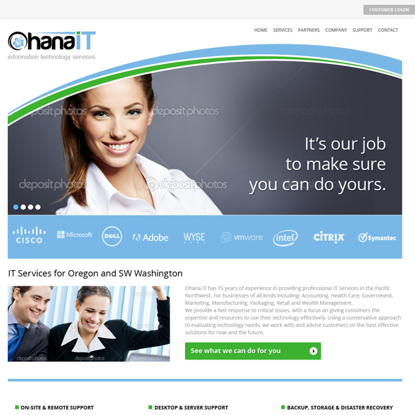 Green and blue design with the title 'Website design for Ohana IT'