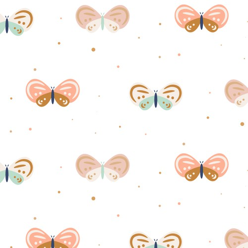 Fabric illustration with the title 'Pattern design. Butterflies'
