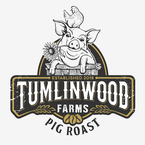 """Scanning logo with the title 'Hand crafted logo for my """"Pig Roast"""" coffee beans.'"""
