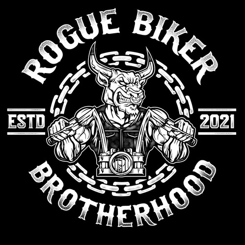 Motorbike design with the title 'Logo Design for Rogue Brotherhood'