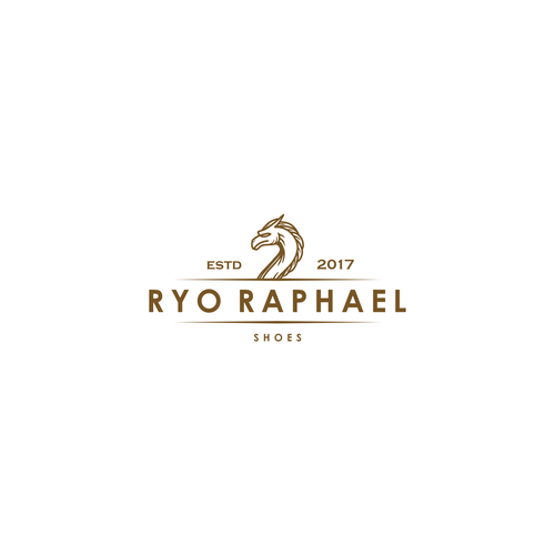 Shoe design with the title 'Classic and luxurious logo concept for shoe brand'