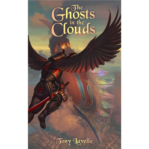 Fantasy illustration with the title 'The Ghosts In The Clouds'