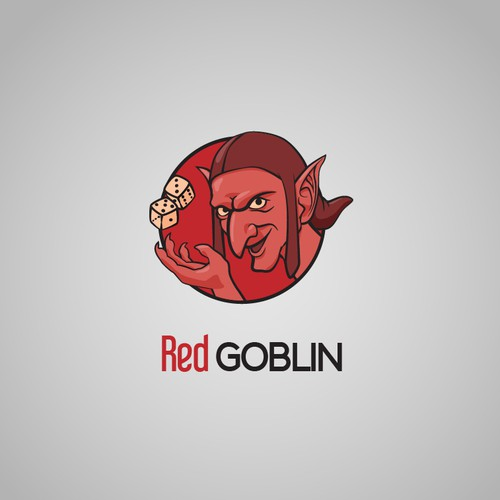 Goblin logo with the title 'Red Goblin logo design concept'