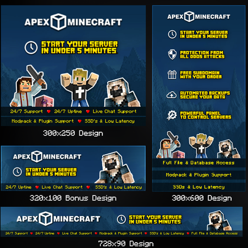 Minecraft design with the title 'Website Banners for Minecraft Server Company'