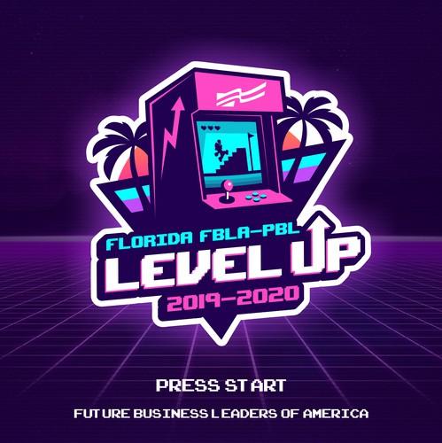 "Florida logo with the title 'Florida FBLA-PBL ""Level Up"" (logo)'"