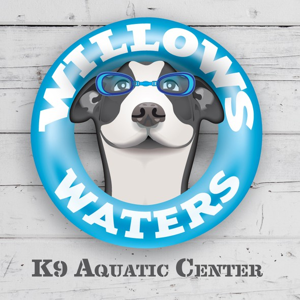 Canine logo with the title 'Illustrative Logo/Sign for an Aquatic Center that provides physical therapy for dogs.'