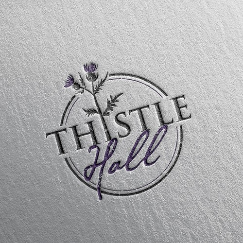 Flower design with the title 'Logo for Thistle Hall'