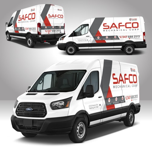 Corporate identity design with the title 'Mechanical Company Van'