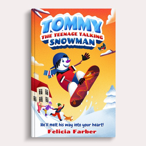 Winter book cover with the title 'Tommy The Teenage Snowman'