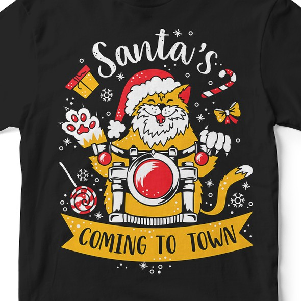 Holiday t-shirt with the title 'Santa's coming to town!'