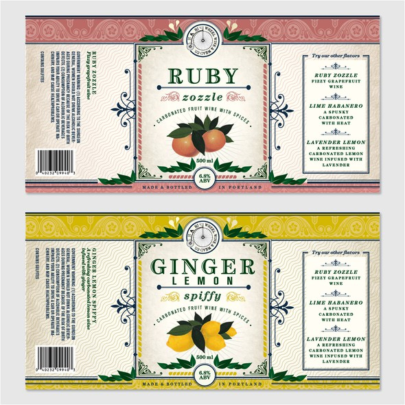 Traditional label with the title 'Vintage-inspired & hip carbonated wine bottle labels'