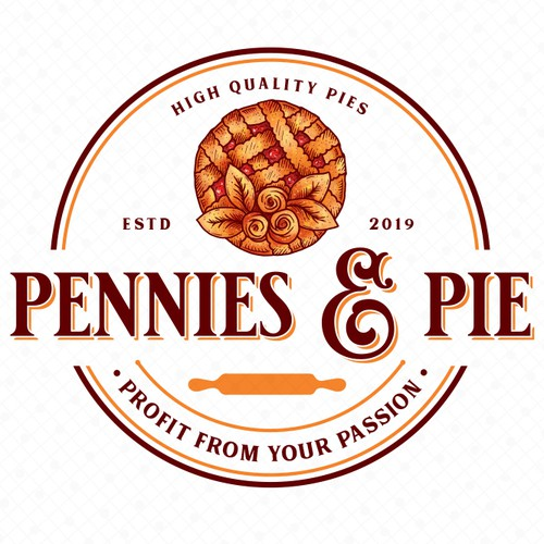 Pie design with the title 'Pennies & Pie'
