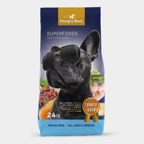Dog treat packaging with the title 'Dog food packaging proposal'