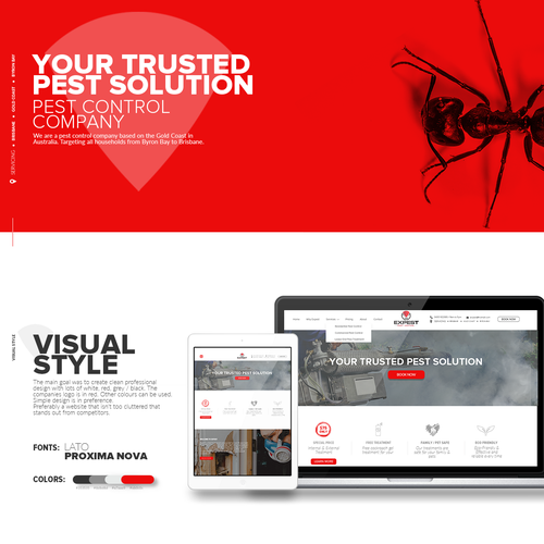 Pest control design with the title 'Website design for Expest company.'