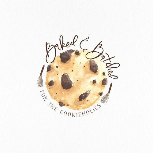 Cookie design with the title 'Cookieholics will love this watercolor cookie'
