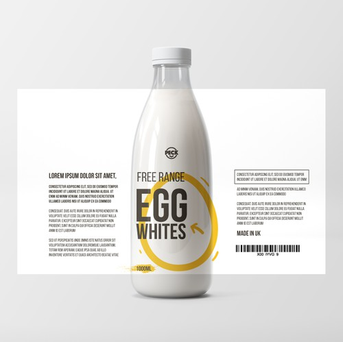 Creative packaging with the title 'Modern Minimal Packaging Design for Bottled Egg White Product'