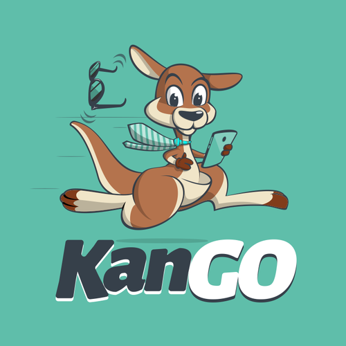 Kangaroo logo with the title 'Fun logo for KanGo'