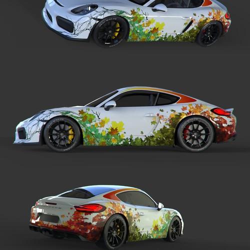 Porsche design with the title 'Car wrap - canadian seasons'