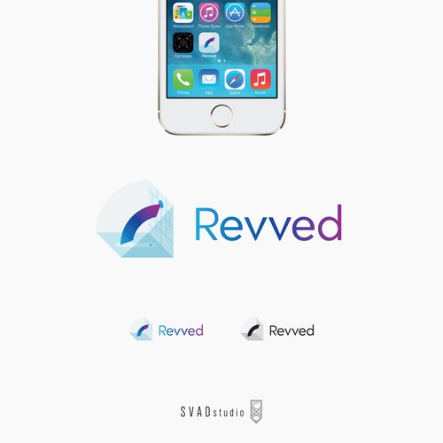 Conceptual brand with the title 'Revved - Uber like app - logo design'