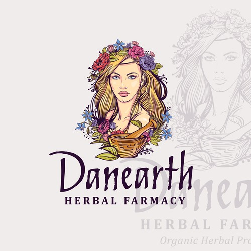 Girl logo with the title 'Danearth Herbal Farmacy'
