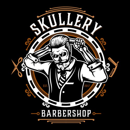 Hipster logo with the title 'Skullery Barbershop'