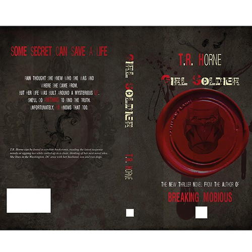 Owl book cover with the title 'Cover for thriller novel'