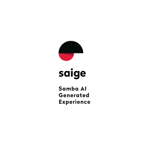 Composition design with the title 'logo for SAIGE Samba AI Generated Experience '