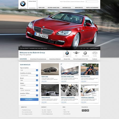 Automotive website with the title 'Website for authorized BMW dealer'
