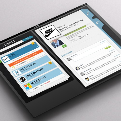 Tablet design with the title 'Project Management'