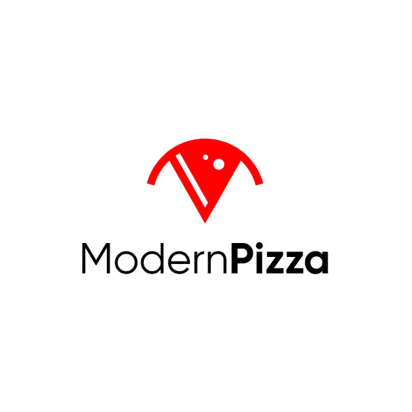 Pizza box logo with the title 'pizza + M'