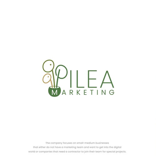 UFO logo with the title 'Pilea logo design concept'