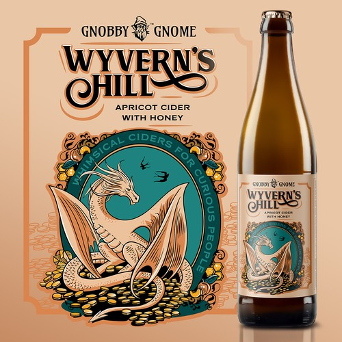Gold label with the title 'Wyvern's Hill'