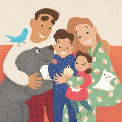 Graphic illustration artwork with the title 'The Boy Who Couldn't Wait for Christmas illustration'