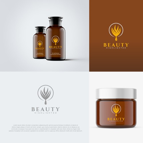 Cosmetics logo with the title 'Beauty Highlighted'