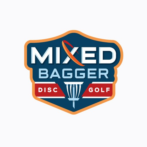Tournament logo with the title 'Modern emblem style logo for a disc golf brand'