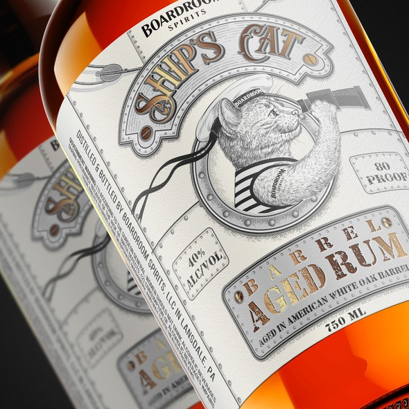 Cat label with the title 'Ship's Cat, Aged Rum label'